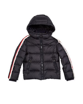 Odilon Stripe-Trim Hooded Down Coat, Navy, Size 4-6