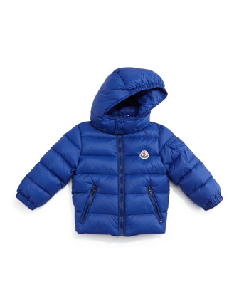 Jules Zip-Front Quilted Coat, Navy, Size 12M-3T