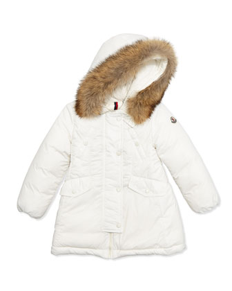 Arrious Fur-Trim Hooded Down Coat, White, Size 12M-3T