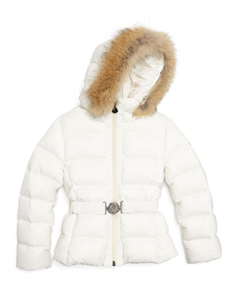 Angers Fur-Trim Quilted Down Coat, Cream, Size 4-6