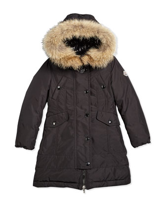 Arrious Fur-Trim Hooded Down Coat, Black, Size 4-6