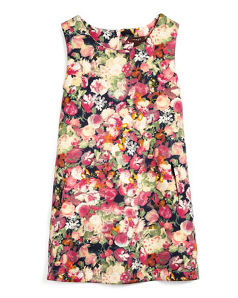 Floral Scuba Shift Dress, Navy/Multicolor, Size 4-6