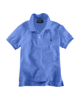Solid Mesh-Knit Cotton Polo Shirt, Size 2-7