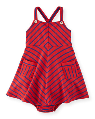 Striped A-Line Jersey Dress & Bloomers, Red, Size 6-24 Months