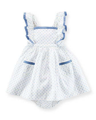 Sleeveless Polka-Dot Cotton Batiste Dress & Bloomers, White/Blue, Size 6-24 ...