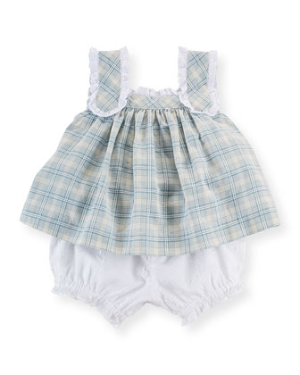 Lace-Trim Plaid Dobby Tank & Bloomers, Blue/Multicolor, Size 6-24 Months