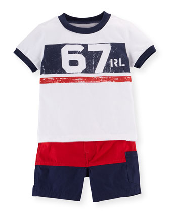 Jersey Graphic Tee & Shorts Set, White/Multicolor, Size 6-24 Months