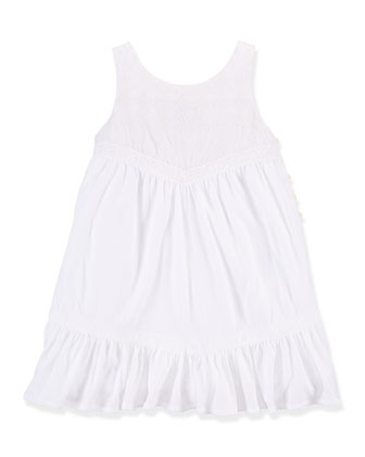 Embroidered Cotton Voile Shift Dress, White, Size 2T-6X