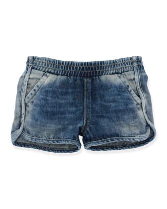 Denim Dolphin Shorts, Seaside Wash, Size 2T-6X