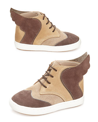 Leather Winged High-Top Sneaker, Beige/Brown, Toddler