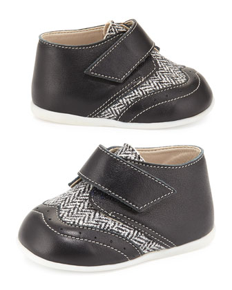 Leather & Tweed Mid-Top Oxford, Black/White, Infant