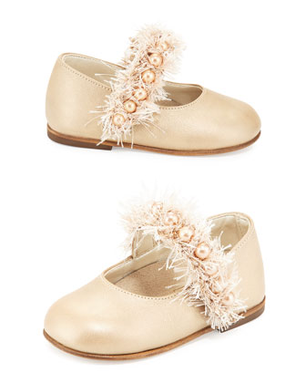 Leather Bead & Fringe Mary Jane Flat, Gold, Toddler