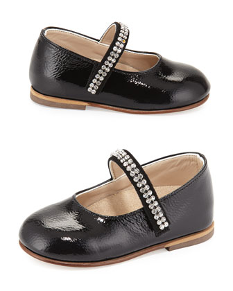 Patent-Leather Mary Jane Flat w/ Rhinestone Trim, Black, Infant