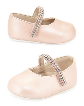 Leather Mary Jane Flat w/ Rhinestone Trim, Dusty Pink, Infant