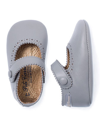 Laser-Cut Suede Mary Jane Flat, Taupe, Infant