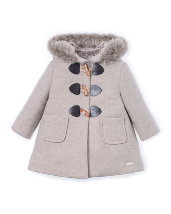 Hooded Faux-Fur-Trim Duffle Coat, Beige, Size 4-6