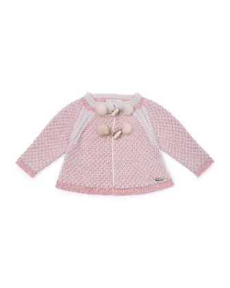 Tweed Duffle Jacket, Pink, Size 2-6