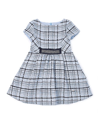 Short-Sleeve Plaid A-Line Dress, Blue, Size 2-6