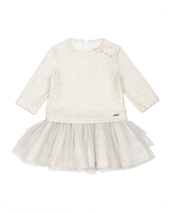 Long-Sleeve Tiered Fit-and-Flare Combo Dress, Ivory, Size 4-6