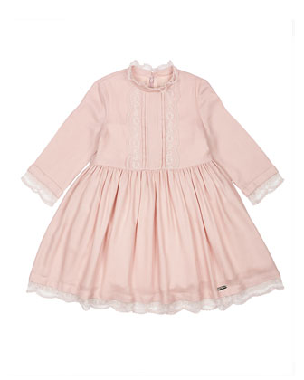 Long-Sleeve Lace-Trim A-Line Dress, Pink, Size 4-6