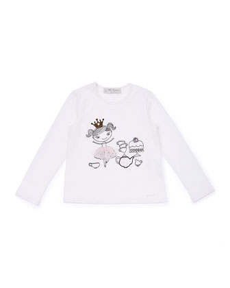 Long-Sleeve Tea Party Jersey Tee, Ivory, Size 2-6