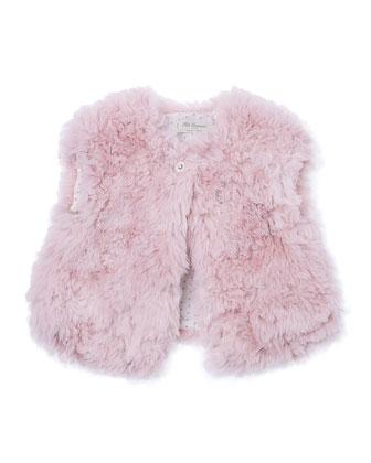 Faux-Fur Vest, Pink, Size 4-6