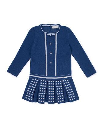 Pleated Wool-Blend Sweaterdress, Blue, Size 4-6