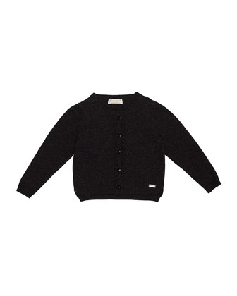 Knit Button-Front Cardigan, Charcoal, Size 4-6