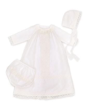 Silk-Blend Two-Piece Special Occasion Set, Ivory, Size 3-6 Months