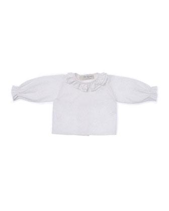 Ruffle-Trim Pin-Dot Blouse, Ivory, Size Newborn-6 Months