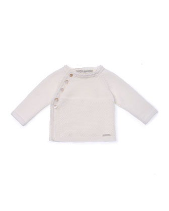 Raglan Lace-Trim Sweater, Ivory, Size Newborn-6 Months