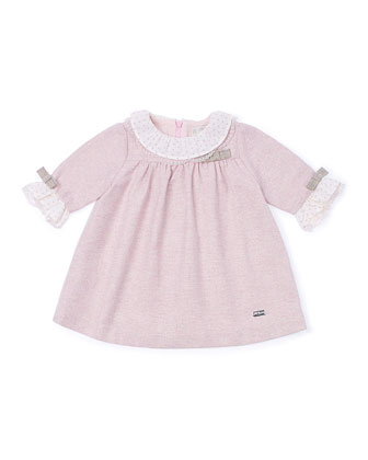 Tweed Ruffle-Trim Shift Dress, Pink, Size 12M-3