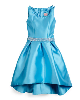 Sateen High-Low Dress w/ Rhinestone Belt, Blue, Size 7-14