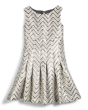 Chevron-Jacquard Fit-and-Flare Dress, Silver