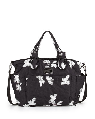 Pretty Nylon Painted Flower Diaper Bag, Black Multi