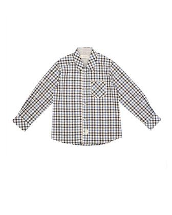 Long-Sleeve Plaid Poplin Shirt, Gray/Blue, Size 2-6