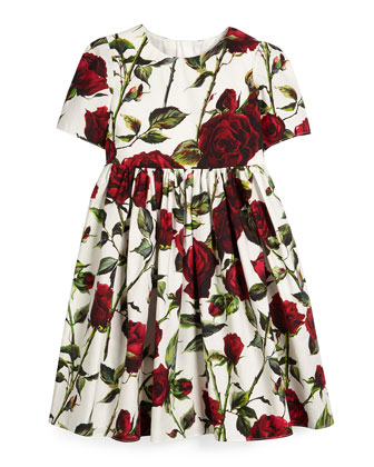 Short-Sleeve Rose-Print A-Line Dress, White/Red, Size 4-6
