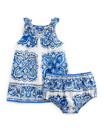 Sleeveless Floral-Print Shift Dress & Bloomers, Blue/White, Girls' Size ...