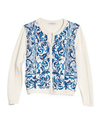 Floral Tile Silk Cardigan, Blue/White, Size 6-24 Months