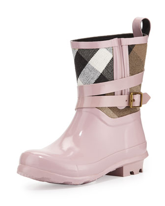Holloway Mini Check Rubber Rainboot, Pale Orchid, Youth