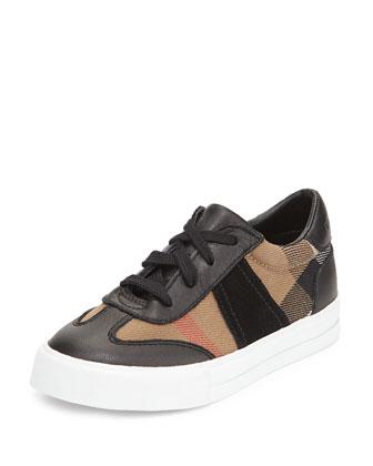 Longsley Check Low-Top Sneaker, Black/Tan, Infant