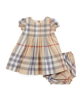 Luela Pleated Check Dress & Bloomers, Pale Stone, Size 3M-3Y