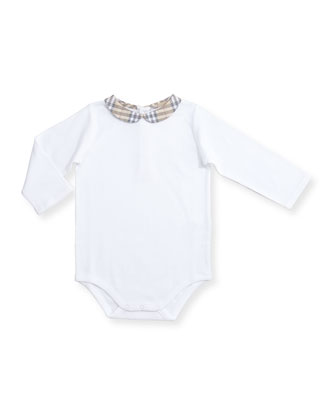 Izzy Check-Collar Playsuit, White, Size 3-24 Months