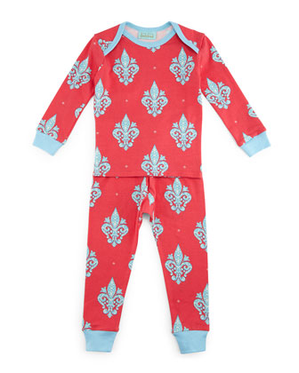 French Quarter Pajama Shirt & Pants, Pink/Blue, Size 3-24 Months
