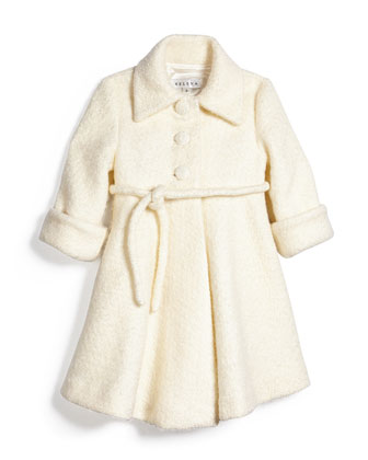 Fit-and-Flare Boucl?? Peacoat, Ivory, Size 7-14