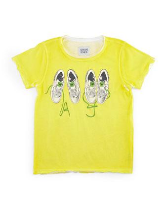 Raw-Edge Jersey Tee w/ Sneaker Print, Yellow, Size 2-8