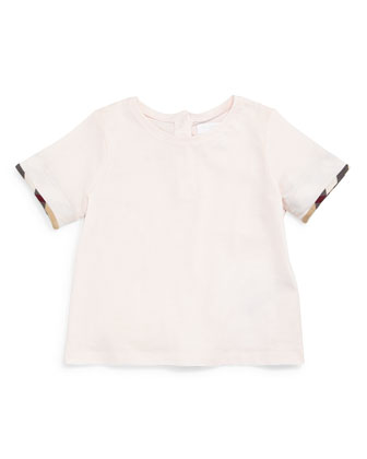 Tulisa Check-Cuff Jersey Tee, City Pink, Size 3M-3Y