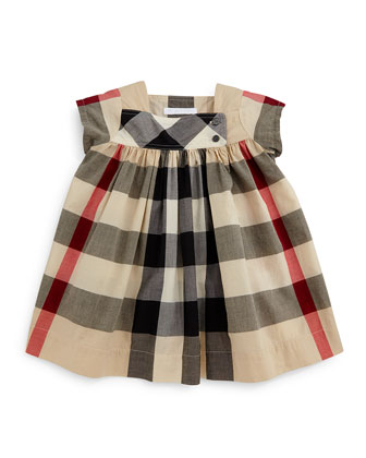 Paisley Check Cap-Sleeve Shift Dress, Tan, Size 3M-3Y