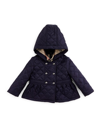 Portree Hooded Military Jacket, Navy, Size 3M-3Y