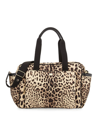 Cheetah-Print Nylon Diaper Bag, Tan